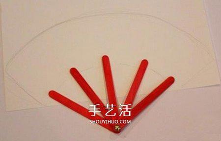 雪糕棒做紙扇子的方法 兒童手工紙扇的做法