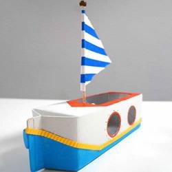 用牛奶盒制作帆船方法 幼儿废物利用做小船