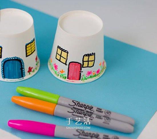 纸杯房子的做法图片 手工幼儿园小房子的制作 -  www.shouyihuo.com