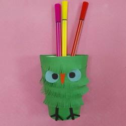小鸟笔筒的做法图解 幼儿制作卡通笔筒超简单