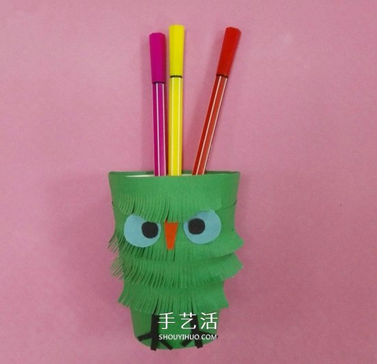 小鳥筆筒的做法圖解 幼兒製作卡通筆筒超簡單