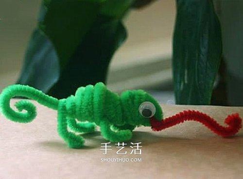 幼兒園手工製作變色龍 扭扭棒做變色龍的方法
