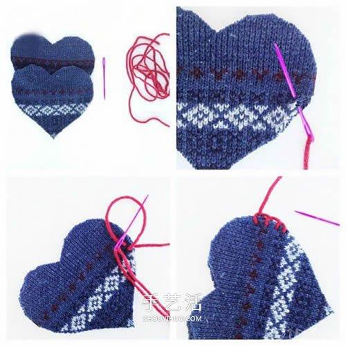 舊毛衣改造教程 DIY手工製作漂亮的愛心掛飾