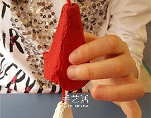 雞蛋托做娃娃的方法 廢物利用DIY人偶娃娃掛飾