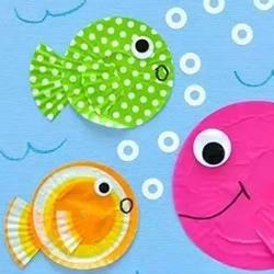 蛋糕纸贴画可爱小鱼 做出很童趣的海底世界