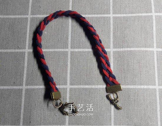 复古风双色手链的编法 四股皮绳编织手链图解 -  www.shouyihuo.com