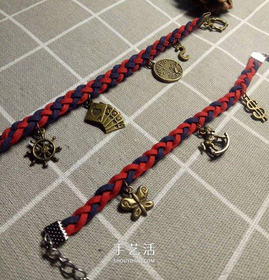 復古風雙色手鏈的編法 四股皮繩編織手鏈圖解