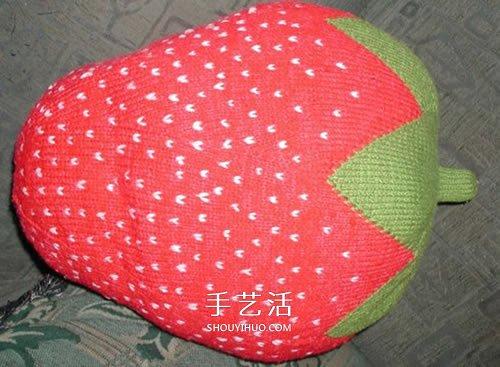 用毛線做水果的作品圖片 還能當做趣味靠枕