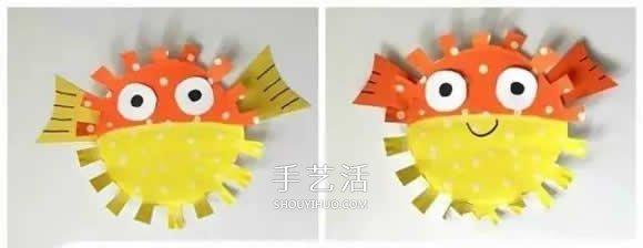 幼兒園手工製作河豚 紙餐盤做卡通河豚的方法