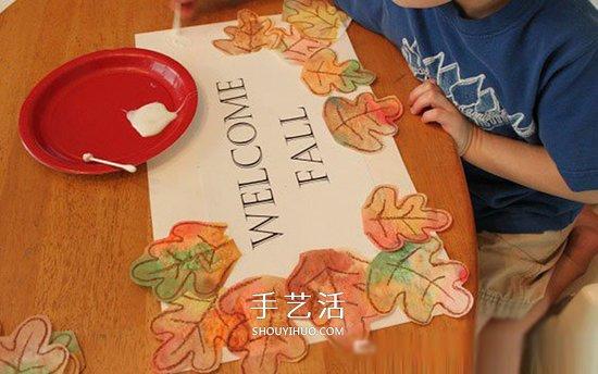 簡單幼兒小製作:歡迎秋天的樹葉卡片做法