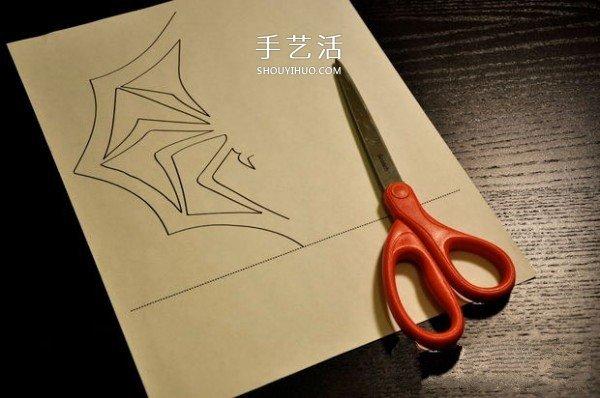 万圣节蜘蛛剪纸的教程 含蜘蛛图纸下载打印 -  www.shouyihuo.com