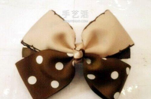 用兩種顏色緞帶 DIY製作雙色蝴蝶結髮卡圖解