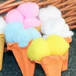 幼儿园学做冰激凌图解 鸡蛋托废物利用小手工