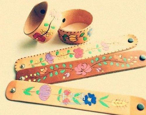 皮革上烙畫!DIY漂亮皮革燒花腕帶/手鏈做法