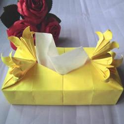 百合花纸巾盒的折法 带花纸巾盒怎么折图解
