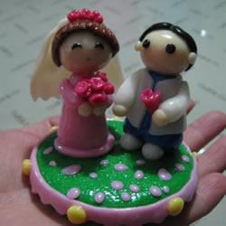 软陶结婚娃娃的制作方法 很漂亮的婚庆装饰摆件
