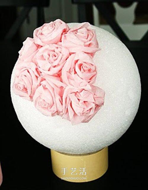 皺紋紙做玫瑰花球的方法 唯美的婚慶裝飾物!