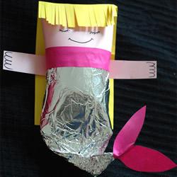 幼儿手工制作美人鱼 卫生纸筒做美人鱼的方法