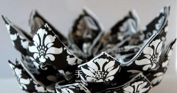 餐巾紙做三角插手工 三角插花球收納盒圖解