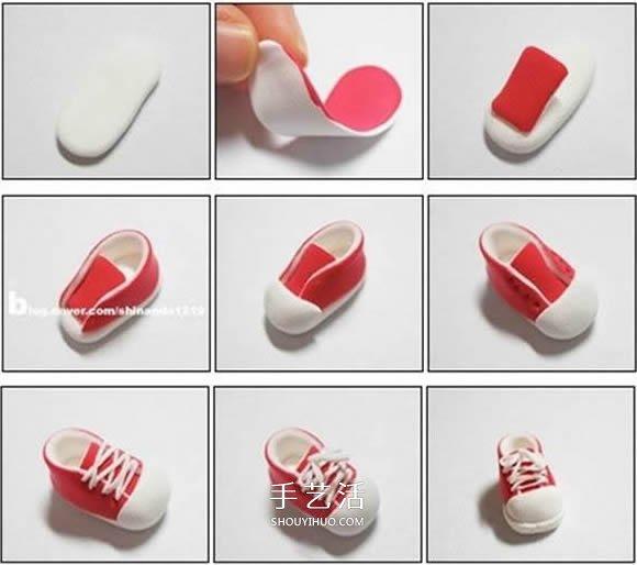 迷你手工教程!用粘土DIY比硬币还小的帆布鞋 -  www.shouyihuo.com