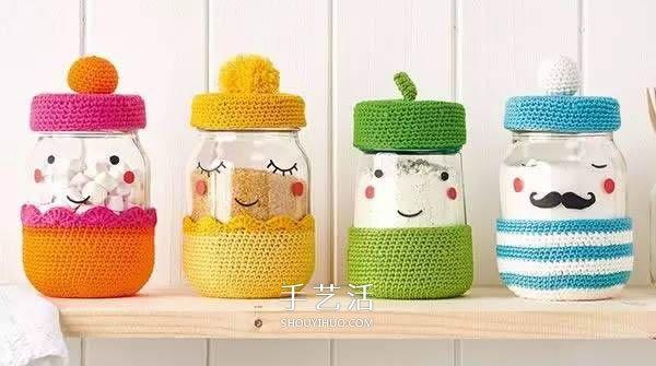 有愛的鉤針編織!把玻璃罐做成卡通娃娃儲物罐