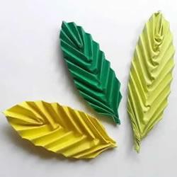 简单树叶怎么折图解 儿童手工立体叶子的折法