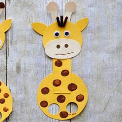 卡纸手工制作长颈鹿手偶 幼儿园做卡纸长颈鹿