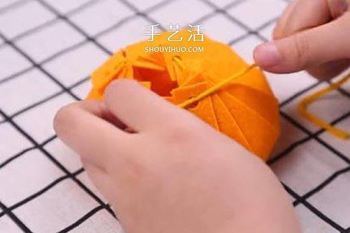 自制不織布南瓜包裝盒 布藝南瓜禮品盒做法
