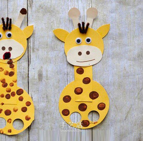 卡紙手工製作長頸鹿手偶 幼兒園做卡紙長頸鹿