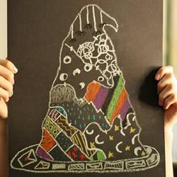 简单手绘巫师帽教程 做一张漂亮的万圣节贺卡