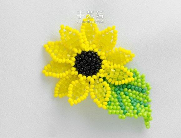 簡單又漂亮的串珠教程 手工串珠向日葵項鏈墜