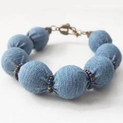 DIY裹珠手链的方法图解 牛仔布改造易搭配手链