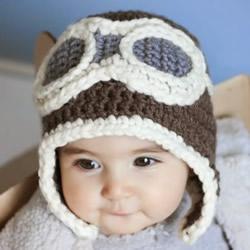 钩针编织儿童飞行员帽子 让孩子实现小小梦想