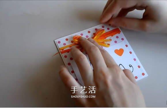 簡單母親節賀卡的製作 絲帶蝴蝶結卡片的做法
