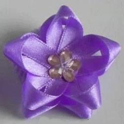 丝带编花的教程 手工丝带五角花的编法图解