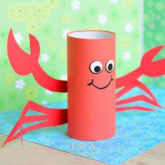 怎麼做一隻可愛小螃蟹 簡單的捲紙筒小製作