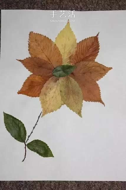 花朵设计图_简单又好看的儿童树叶贴画图片大全_手艺活网