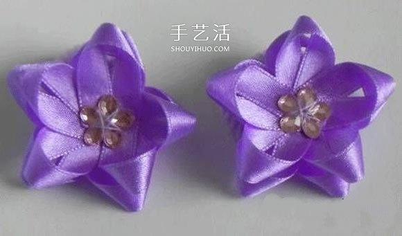 絲帶編花的教程 手工絲帶五角花的編法圖解