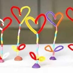母亲节爱心花手工制作 吸管扭扭棒做花朵礼物