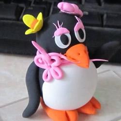 粘土可爱小动物教程 漂亮企鹅MM粘土制作图解