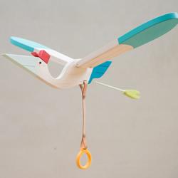 手工制作木头玩具送子鸟 拉下拉环扇动翅膀飞行