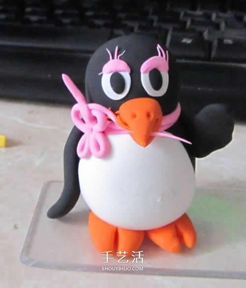 粘土可愛小動物教程 漂亮企鵝MM粘土製作圖解