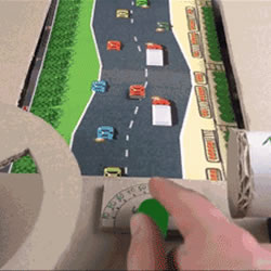 用硬纸板制作的赛车游戏机 真的可以跑起来!