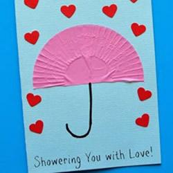 可爱简单的母亲节卡片DIY 天上下起了爱心雨!