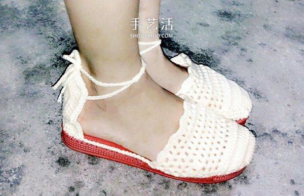 清涼涼鞋的鉤法圖解 鉤織女式涼鞋的方法
