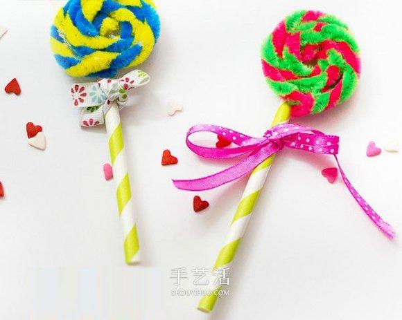 簡單可愛的幼兒手工 用扭扭棒做棒棒糖的方法