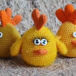 毛绒小鸡玩偶钩法图解 钩织可爱小鸡的方法
