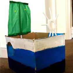 简单的纸箱废物利用 手工制作带帆的玩具船