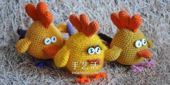 毛絨小雞玩偶鉤法圖解 鉤織可愛小雞的方法