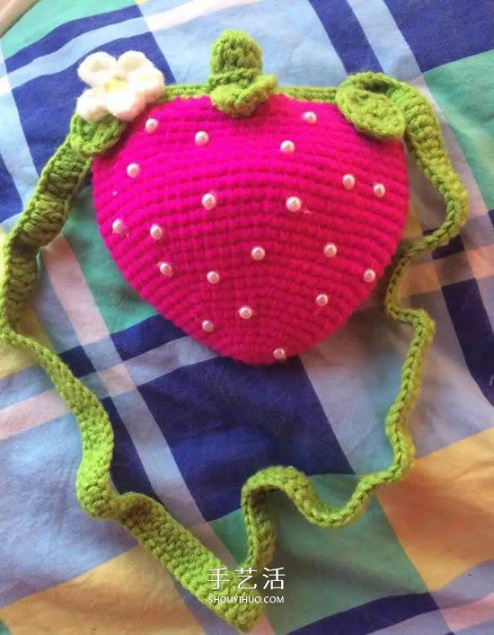 鉤織草莓包包的方法 寶寶可愛草莓包的鉤法
